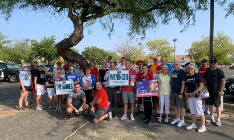 Out knocking doors and answering questions from voters in LD17. An amazing group of patriots explaining why we MUST re-elect President Trump and why we need to keep the AZ House in republican control!